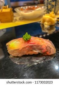 Aji fish sushi or Japanese mackerel with rice