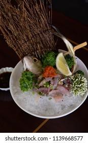 Aji Mackerel Sashimi Plated and ready to be eaten