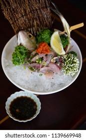 Aji Sashimi served on ice with Spicy ponzu sauce