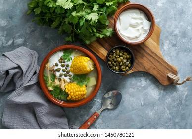 Ajiaco Colombiano.   patato soup common in Colombia, Cuba and Peru. Latin America