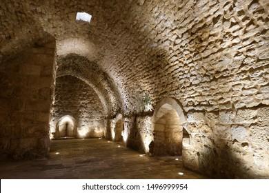 AJLOUN, JORDAN - APRIL 17, 2019 - A vaulted stone room inside of Ajloun Castle, a 12th-century Muslim castle located in northwestern Jordan.