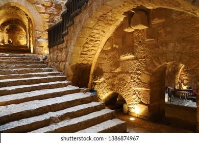 Ajlun, Jordan - April 19, 2019: Interiors of Ajlun castle, Jordan
