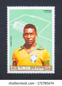 AJMAN - CIRCA 1968: a postage stamp printed in Ajman showing an image of Edson Arantes do Nascimento Pele soccer player, circa 1968.