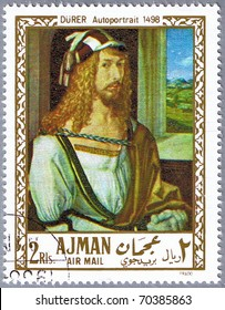 AJMAN - CIRCA 1968: A stamp printed in Ajman shows painting of Albrecht Durer - Self-Portrait, series, circa 1968