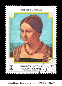 AJMAN - CIRCA 1971 : Cancelled postage stamp printed by Ajman state, that shows Painting Portrait of a woman, circa 1971.