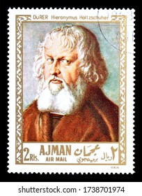AJMAN - CIRCA 1971 : Cancelled postage stamp printed by Ajman, that shows Painting Portrait of Hieronymus Holtzschuher by Durer, circa 1971.