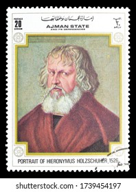 AJMAN - CIRCA 1972 : Cancelled postage stamp printed by Ajman state, that shows Painting Portrait of Hieronymus Holzschuher, circa 1972.