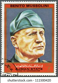 AJMAN - CIRCA 1972: A stamp printed in Ajman shows Benito Mussolini (1883-1945), series Figures from the Second World War, circa 1972