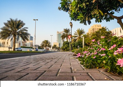 Ajman. Morning sunny green street in the Emirate of Ajman.