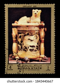 AJMAN STATE - CIRCA 1972 : Cancelled postage stamp printed by Ajman state, that shows Unguent jar from ancient Egypt, circa 1972.