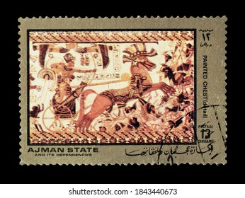 AJMAN STATE - CIRCA 1972 : Cancelled postage stamp printed by Ajman state, that shows Painted chest from ancient Egypt, circa 1972.