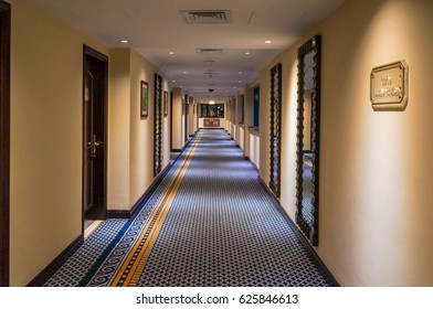 Ajman. In the summer of 2016. Modern and bright interior in the hotel Kempinski, Ajman. The hotel hallway.