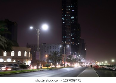 Ajman, UAE - April 6. 2018. Street Sheikh Humaida bin Rashid al-Nuaimi at night