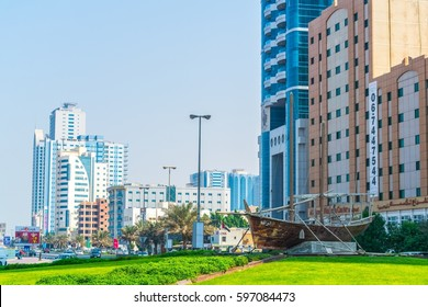 AJMAN, UAE, OCTOBER 24, 2016: View of a monument with a dhow boat in Ajman, UAE
