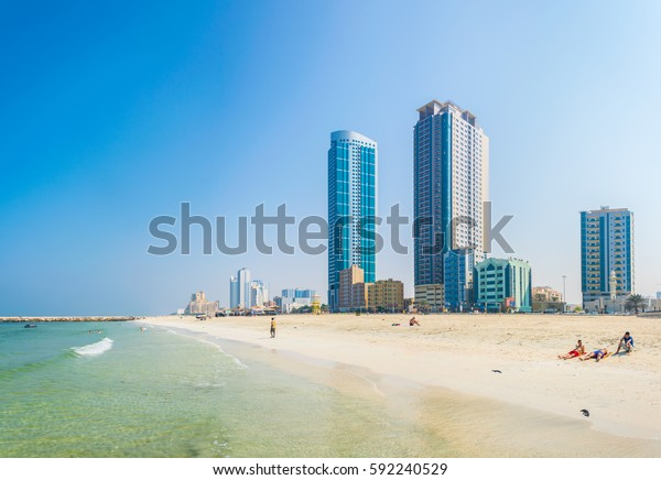 AJMAN, UAE, OCTOBER 24, 2016: Hotels stretched alongside beach in the smallest of the United Arab Emirates - Ajman.