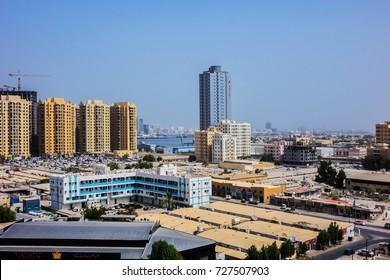 AJMAN, UNITED ARAB EMIRATES - JUNE 28, 2016: Cityscape of Ajman. Ajman is the capital of the emirate of Ajman in the United Arab Emirates.