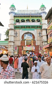 Ajmer, India - April 8, 2017: Outer image of Hazrat Khwaja Moinuddin Chishty Dargah of  Sufi saint at Ajmer, Rajasthan, India, a prestigious shrine of Muslims as well as the rest of Indians.