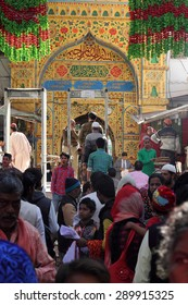 AJMER, INDIA - FEB 04: Unidentified pilgrims visit the sufi shrine Dargah Sherif on February 04,2015 in Ajmer, Rajasthan, India.The Dargah is the shrine of most revered sufi saint Moinuddin Chishti.