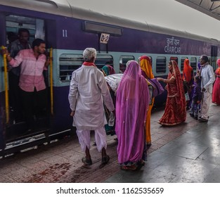 Ajmer, India - Nov 5, 2017. People waiting at railway station in Ajmer, India. India Railway is the fourth-largest railway network in the world by size.