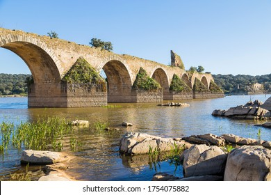 Ajuda bridge over the Guadiana river between Elvas, Portugal and Olivenza, Spain.