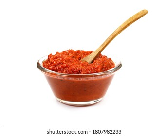 Ajvar - traditional macedonian serbian dish made from red bell peppers, eggplant and garlic, lutenitza, popular in Balkans. Homemade tomato sauce for pasta.