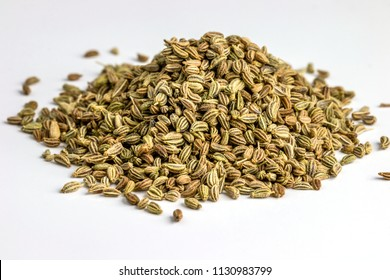 Ajwain Also Know as Ajowan, Caraway or Trachyspermum Ammi Isolated on White Background