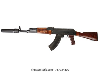 AK 47 assault rifle with sound suppressor (silencer) isolated on white background