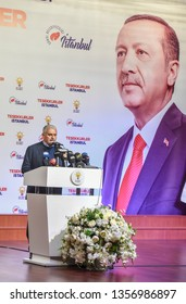 AK Party candidate for mayor in Istanbul, Binali Yildirim, speaks in front of the party headquarters in Istanbul, Turkey March 31, 2019