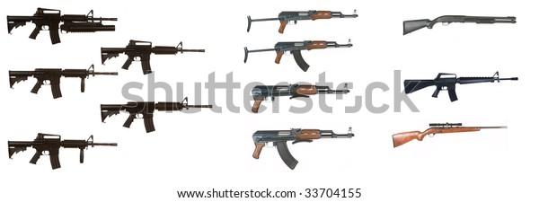 Ak47 M4 M16 Assault Rifle Variants Stock Photo (Edit Now