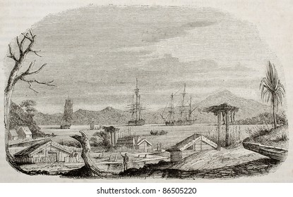 Akaroa bay old view, New Zealand. Created by Lebreton, published on Magasin Pittoresque, Paris, 1843