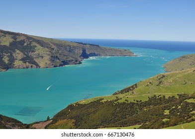 Akaroa harbour inlet in Banks Peninsula, New Zealand