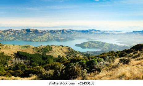 Akaroa Harbour on the South Island of New Zealand