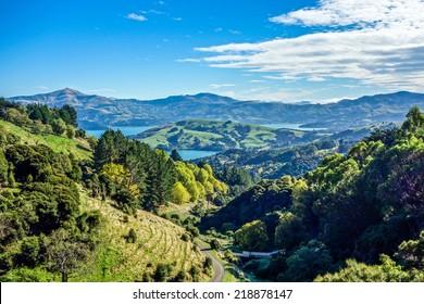 Akaroa village on Banks Peninsula New Zealand