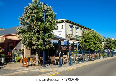 Akaroa,New Zealand - May 12,2016 : Restaurants which is located at the Akaroa, south island of New Zealand.