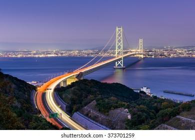Akashi Kaikyo Bridge spanning the Seto Inland Sea from Kobe, Japan.