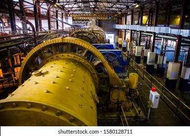 Akbakay/Kazakhstan - April 23 2012: Ore dressing mill (factory ball mill grinder) for minerals in  factory workshop. Gold mining and processing plant. Altynalmas company