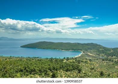 Akbuk bay, blue sea and sky, beautiful bay, Akyaka, Mugla