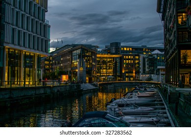 Aker Brygge In City Center in Oslo, Norway in the evening
