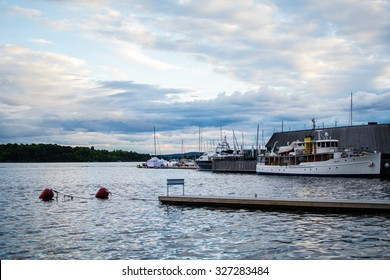 Aker Brygge Embankment on a cloudy day In City Center in Oslo, Norway