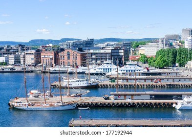 Aker Brygge pier at downtown Oslo, Norway