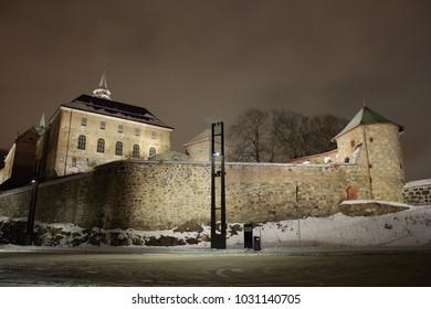 Akershus Fortress in Oslo, Norway. nightshot in winter timeAkershus Fortress in Oslo, Norway