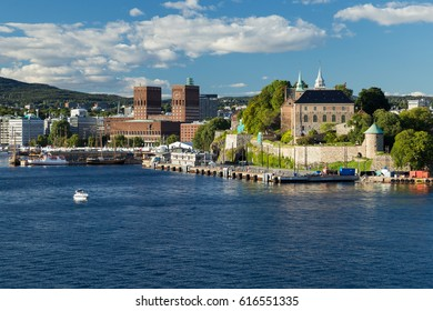 Akershus Fortress and the townhall of Oslo in background seen from the waterside