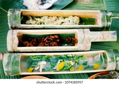 Akha Food, Yunnan food in bamboo tube.