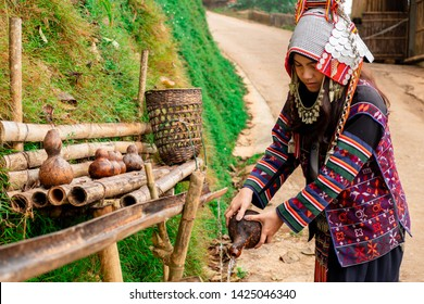 Akha hilltribe women, Akha women, collect water in water bottle in the morning, Chiang Rai, northern Thailand.