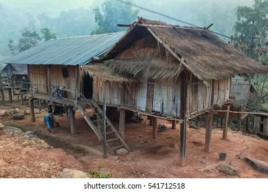 Akha village houses in Phongsali province, northern Laos