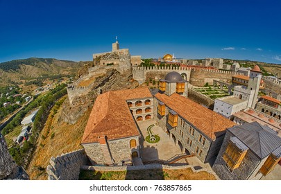 AKHALTSIKHE, GEORGIA - 08 AUGUST 2017: Famous renovated Rabati Castle complex in sunny summer weather in Akhaltsikhe city of Georgia