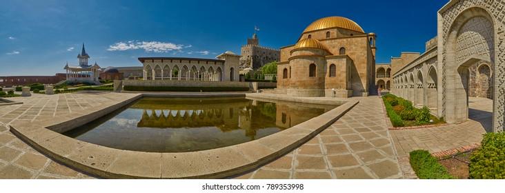 AKHALTSIKHE, GEORGIA - 08 AUGUST 2017: Panoramic view  Majestic Rabati Castle Complex grounds