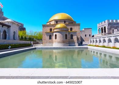 Akhaltsikhe, Georgia -April 27, 2017: View of the famous fortress Rabat or Rabati in Akhaltsikhe, Georgia