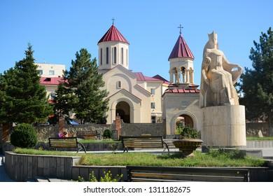 Akhaltsikhe, Georgia - September 23, 2018: Amaghleba Church located in Akhaltsikhe