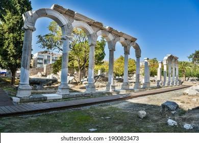 Akhisar, Manisa, Turkey – November 9, 2020. Ancient columns and arches of Thyatira ancient city in the modern Turkish city of Akhisar.